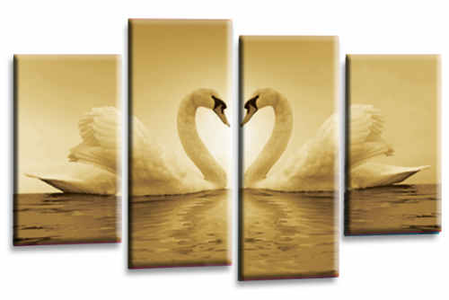Love Swans Canvas Wall Art Picture Kissing Heart Sepia White Print